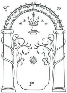 La porta di Moria disegnata da Tolkien